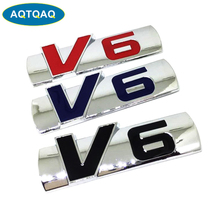 1Pcs Personalized 3D Car Stickers Metal V6 Car Stickers Badge Decoration Stickers Universal For Most Cars