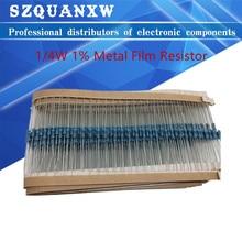 20pcs 1/4W 1R~22M 1% Metal film resistor 100R 220R 1K 1.5K 2.2K 4.7K 10K 22K 47K 100K 100 220 1K5 2K2 4K7 ohm resistance