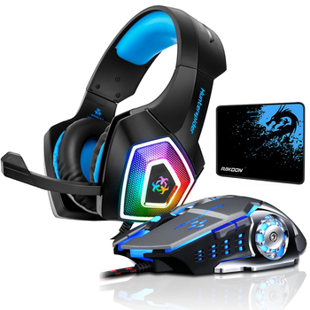 Hunterspider V1 Stereo Gaming Headset Deep Bass Over-Ear Game Headphone with Mic LED Light for PS4 PC+Gaming Mouse+Mice Pad deep bass headphone stereo over ear led light gaming headband headset for pc gamer