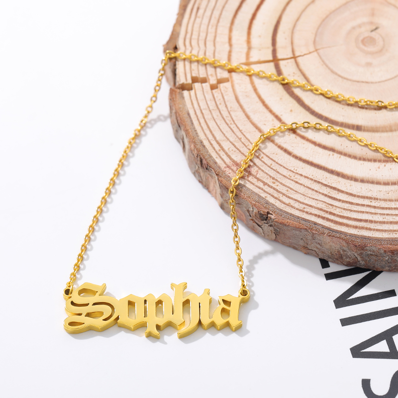 Personalized Custom Name Necklace Silver Gold Chain Stainless Steel Customized Old English Nameplate Necklaces Jewelry Gifts