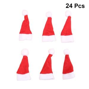 24pcs Mini Christmas Cap Santa Hat Cute Lollipop Hat Decor Nonwoven Candy Packing Hats Christmas Supplies For Home Shop Store