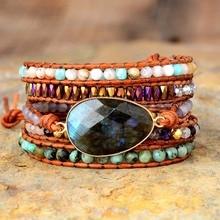 Exclusive New Women Boho Bracelets Labradorite 5 Times Leather Strap Woven Wrap Beads Bracelets Femme Dropshipping