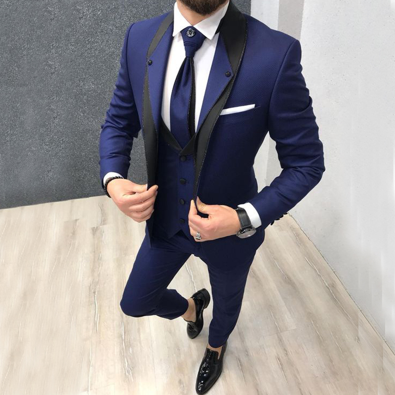2020 Custom Navy Blue Slim Fit Wedding Terno Masculino Suit For Men Groom Man Suits Tuxedos 3 Pieces Party Men Suits For Wedding