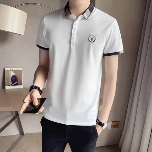 2021 Summer Short Sleeve POLO Shirts Men Casual Slim Fit POLO Shirts High Quality Business Social Polos Men Lapel Tee Tops