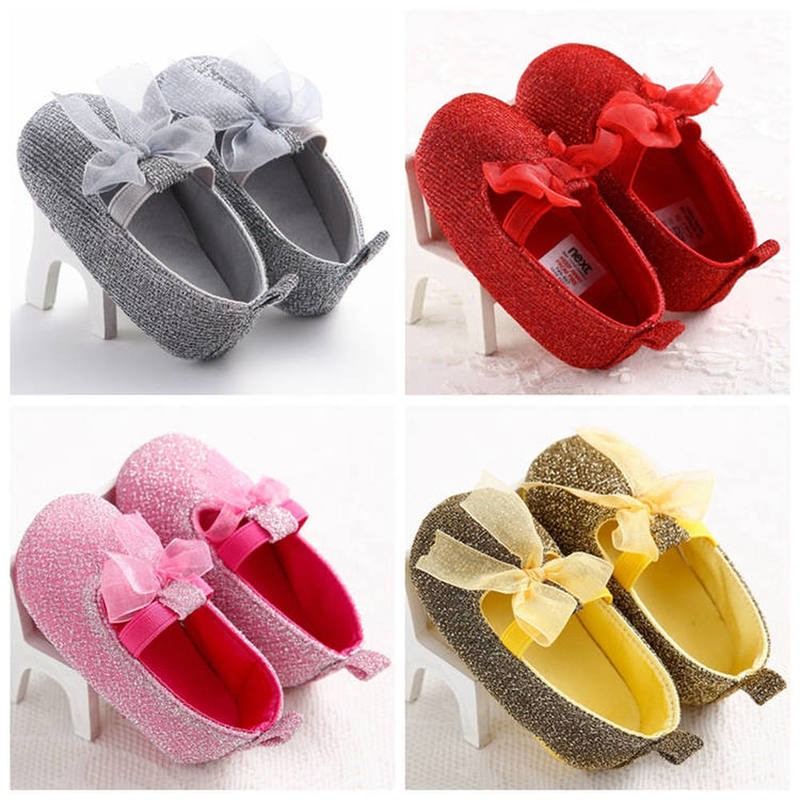Newborn Shoes Baby Girl Infant Sweet Lace Bowknot Bling Coforful Soft Cotton First Walkers Toddler Girl Moccasins Crib Shoes