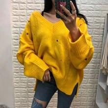 Новинка корейский стиль модные свободные женские свитера размера