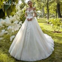 Encantador vestido de novia de manga larga con cuello de corazón, vestido de boda con corte en A, apliques de cuentas de lujo, vestidos de Boda de Princesa de tren de corte 2020