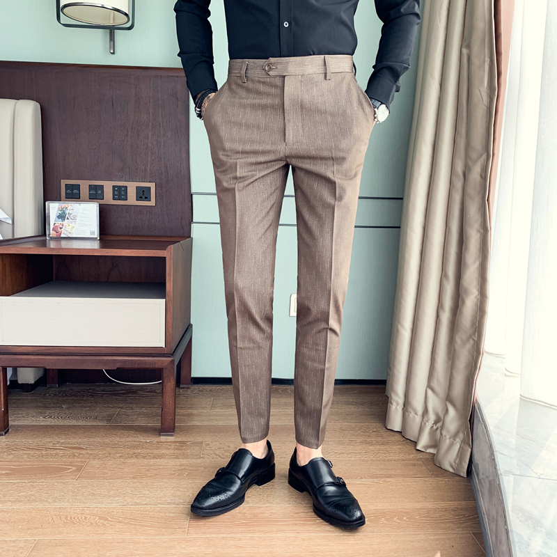 Dress Pants Men Autumn Winter All Match Dark Grain Business Formal Pants For Men Slim Fit Casual Suit Pants Black/Camel 34-29