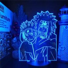 Uzumaki Naruto Acrylic 3D Lamp Jiraiya Led Color Changing Nightlight Kids Bedroom Decoration Light Anime Table Lamp Xams Gift