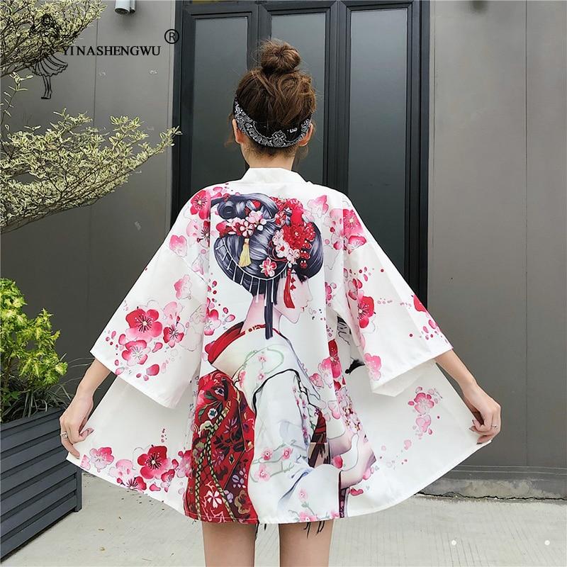Women Yukata Kimono Clothing Japanese Style Kimono Harajuku Crane Print Leisure Blouse Sunscreen Men Cosplay Costume Thin Summer