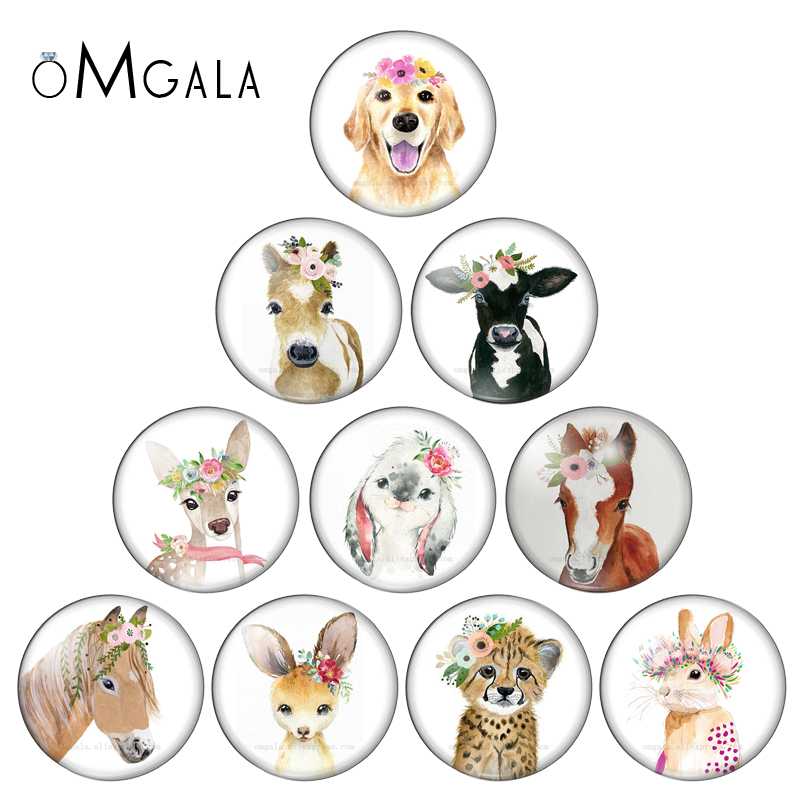 Round Photo Glass Cabochon Spring Flower Animal Dog Cow Horse Rabbit Demo Flat Back Making Findings 12mm/14mm/18mm/20mm/25mm
