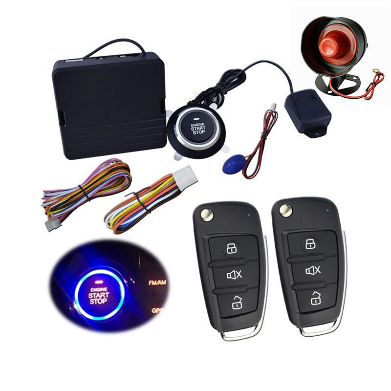 9Pcs 12V Car SUV Keyless Entry Engine Start Alarm System One Start Stop Push Button With Remote Control Starter Alarm System