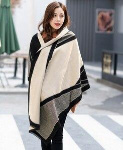 Новинка, брендовый зимний теплый шарф-шаль, модная кашемировая накидка-пончо с кисточками, Пашмина для женщин