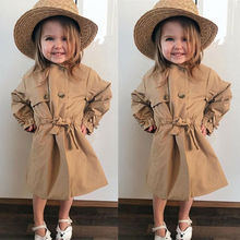 2020 New Fashion Toddler Kids Baby Girl Long Trench Coat Autumn Outerwear Wind J