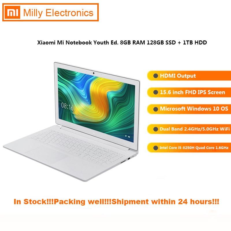 Original Xiaomi Mi Notebook 15.6inch Windows 10 Intel Core I5-8250H GeForce MX110 Quad Core 8GB 128GB Laptops Bluetooth PC