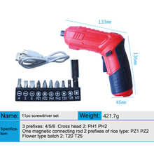 цена на Multifunctional Cordless Electric Screw Driver USB Adjustable  chargeable Cordless Mini Drill Power Tools Set