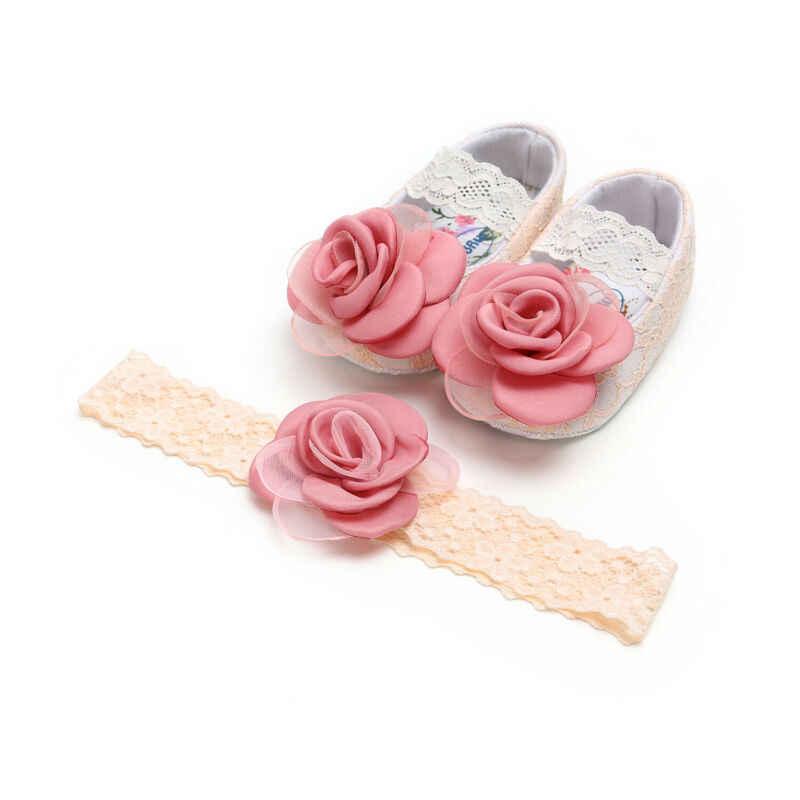 ทารกน่ารักทารกแรกเกิดเด็กทารกรองเท้าดอกไม้ลูกไม้ดอกไม้เจ้าหญิงรองเท้าวันเกิดของขวัญ