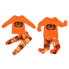 Infant Baby Boys Girls Sets Children's Halloween Ghost Pumpkin Print Long Sleeve Sleepwear Outfit Set цена