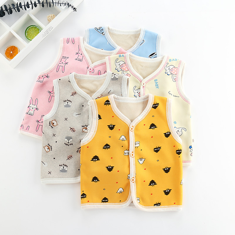 Toddler Vest 100% Cotton Printed Kids Thick Waistcoats Infant Outerwear Children Baby Boys Girls Clothing