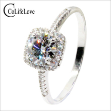 CoLife Jewelry Classic Moissanite Wedding Ring for Woman 1 Ct IF Grade Moissanite 925 Silver Engagement Ring Free Jewelry Box