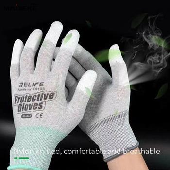 Nylonowe dzianinowe rękawice antystatyczne elektroniczne rękawice robocze narzędzia do naprawy telefonów PU palmowe rękawice palcowe ochraniacz na palce tanie i dobre opinie NONE CN (pochodzenie)