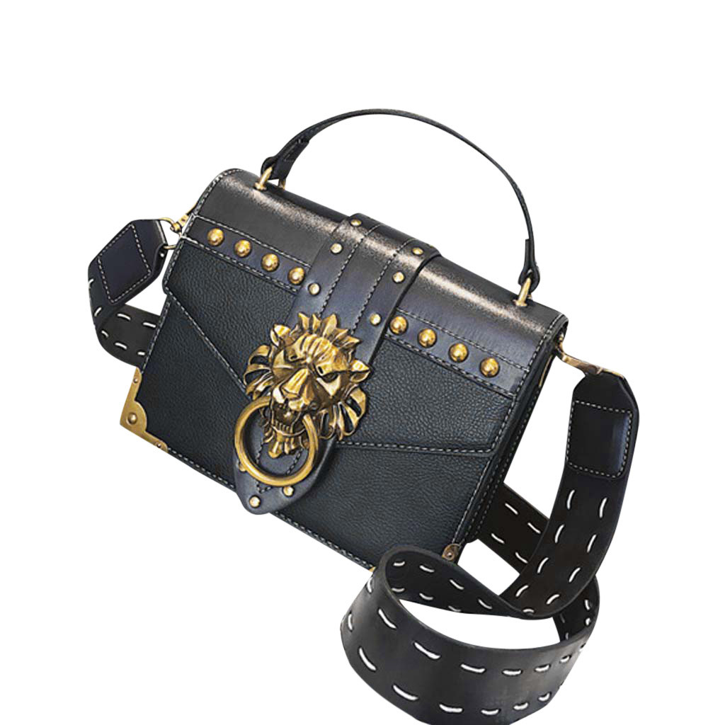H80664389e8dd4618a6e56554f5ce63c1k - Handbags Women Bags  Golden Lion Tote Bag With Zipper Fashion Metal Head Shoulder Bag Mini Square Crossbody Bag G3