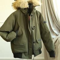 2020 Winter Fashion Pilot Jacket Men Bomber Military Coat Air Force Male Short Jacket Real Fur Collar Hood Army Green Black Red