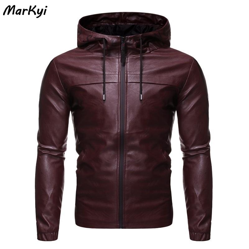 MarKyi 2020 Fashion Hooded Motorcycle Causal Vintage Leather Jacket Coat Men Slim Fit Bomber Leather Jackets