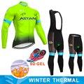 형광 astana 팀 겨울 열 양털 사이클링 저지 자전거 바지 세트 mens ropa ciclismo bicycling maillot culotte wear