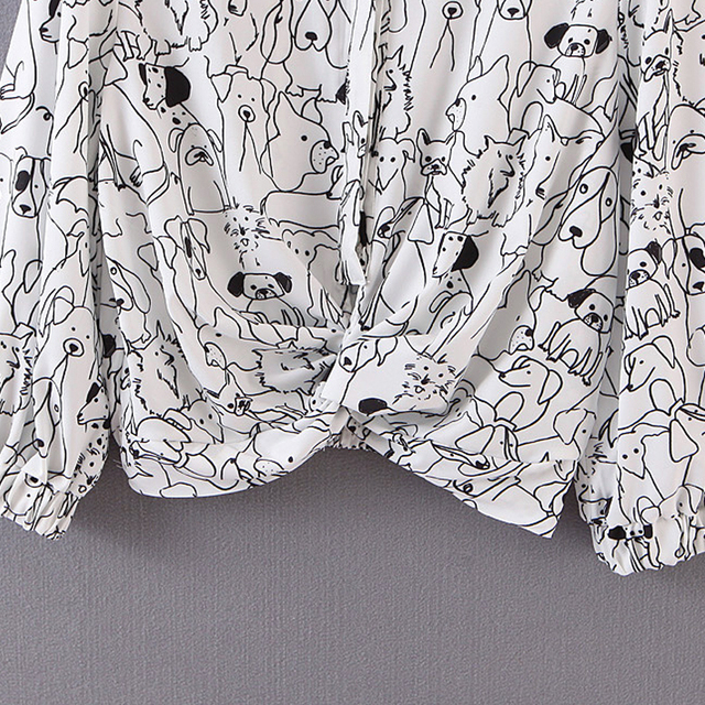 Creative Dog Printed Long Sleeved Blouse