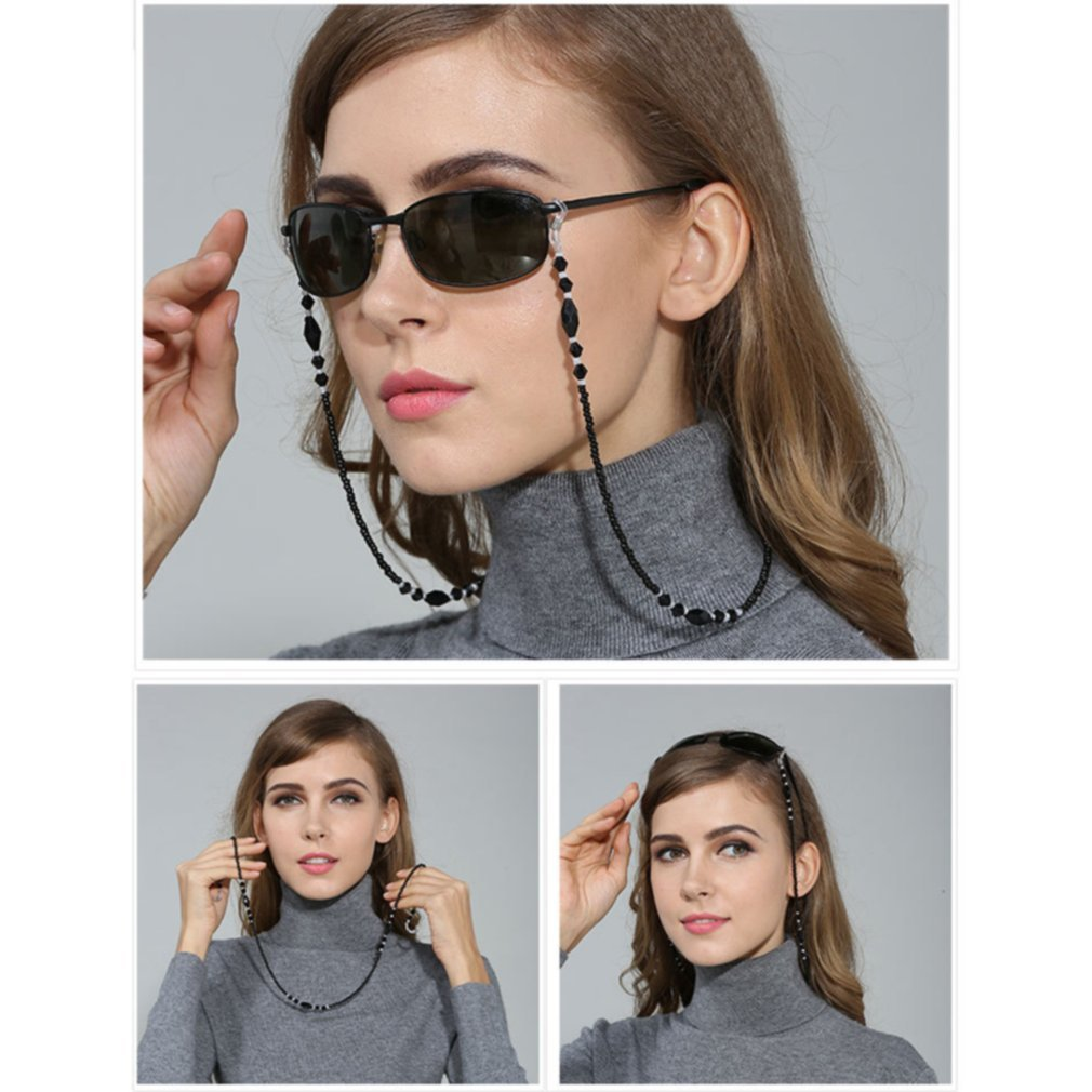 1pc Black Acrylic Beads Eyeglass Chains Anti-slip Chains Eyewear Cord Holder Neck Strap Reading Glasses Rope