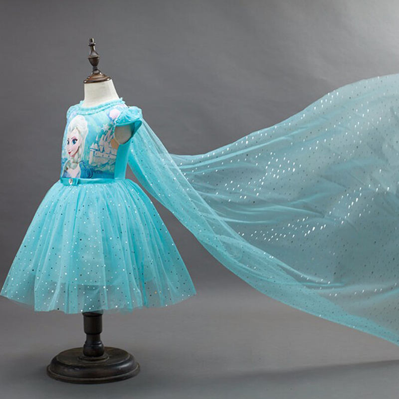 >New High quality Kids princess Elsa Anna <font><b>dress</b></font> for baby <font><b>girls</b></font> snow White Cosplay Costume children <font><b>christmas</b></font> party tutu <font><b>dresses</b></font>