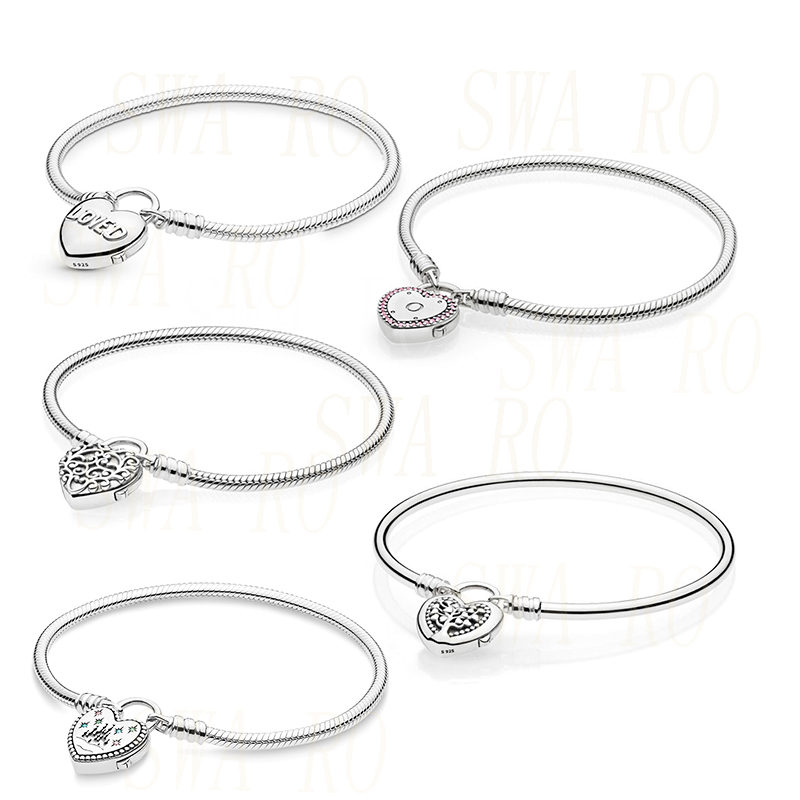 Fashion Silver 925 Pink Moments Heart Padlock Snake Chain, Disne land Bracelet Original Women DIY Charm Romantic Jewelry Gift