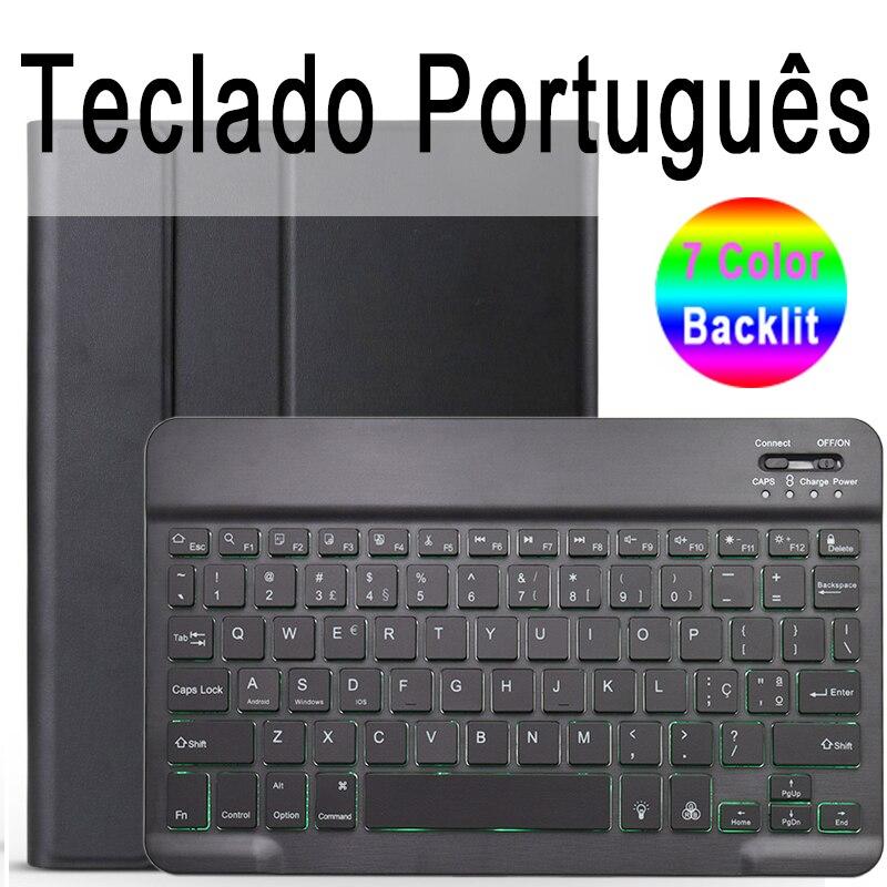 Portuguese Keyboard Camel 7 Colors Backlit 3 0 Bluetooth Keyboard Case for iPad 10 2 Keyboard Case for Apple