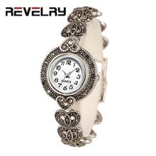 Новинка, Роскошные Кварцевые часы, женские модные античные серебряные женские часы, яркие черные Кристальные часы с винтажным браслетом