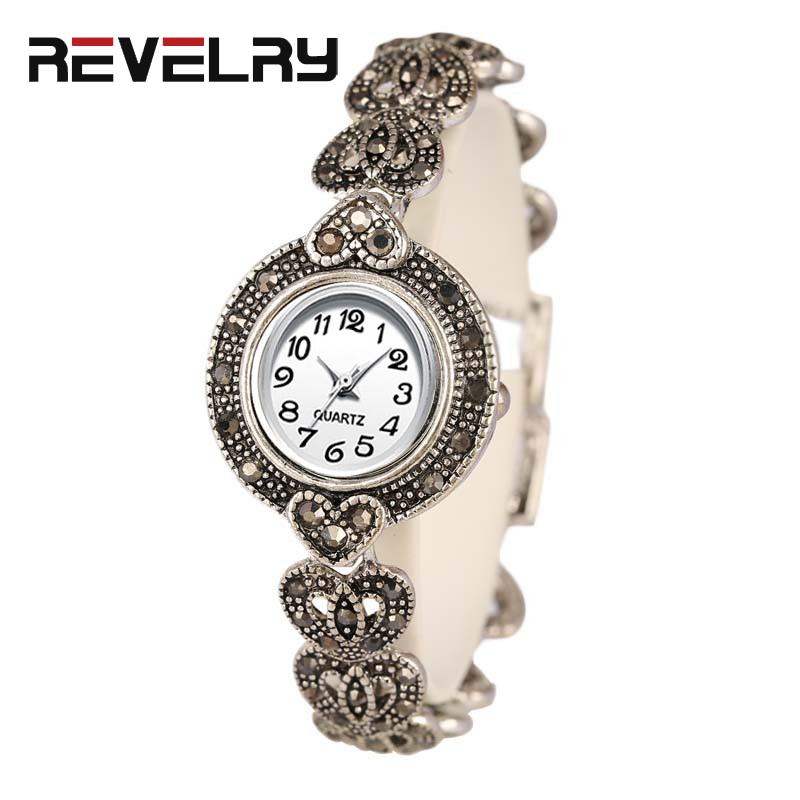 REVELRY 2019 New Luxury Quartz Watch Women Fashion Antique Silver Women's Watches Bright Black Crystal Vintage Bracelet Watch