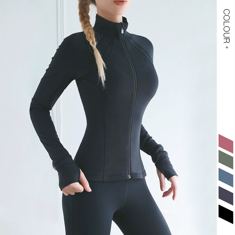 2019 New Style Bare Sense Tight Yoga Clothes Women's Neck Zipper Autumn And Winter Sports Fitness Jacket