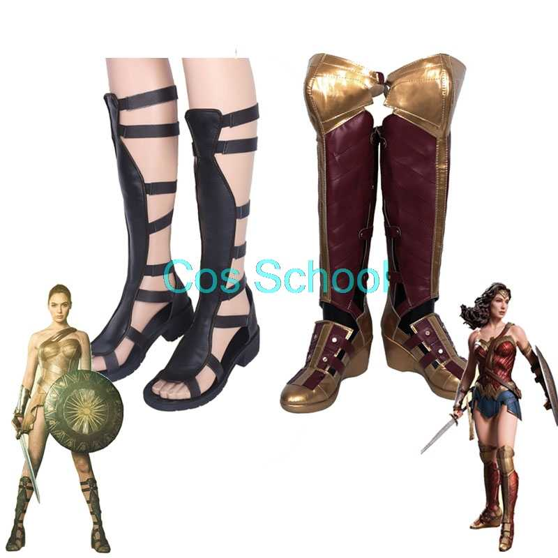 Cos école merveille femme Cosplay chaussures Diana Prince perruques et chaussures princesse Diana de Themyscira bottes film merveille femme Costumes