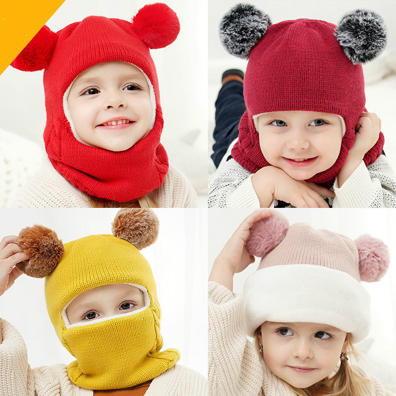 Warm Hooded Baby Scarf Hat Set Winter Ear Cap Boys Ball Thick Double Layer Warm For 2-7years Kids