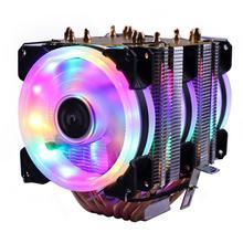 RGB CPU Ventilador de enfriamiento Color silencio PWM, 130W TDP para Intel 1150, 1155, 1156, 1366, 2011 X79 X99 AM2 AM3 AM4 Ventilador