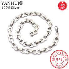 YANHUI 925 Silver Coffee Beans Chain Necklace Men Women 11MM 55CM Rope Link Chain Fashion Necklaces Hip hop Jewelry MS0101S(China)