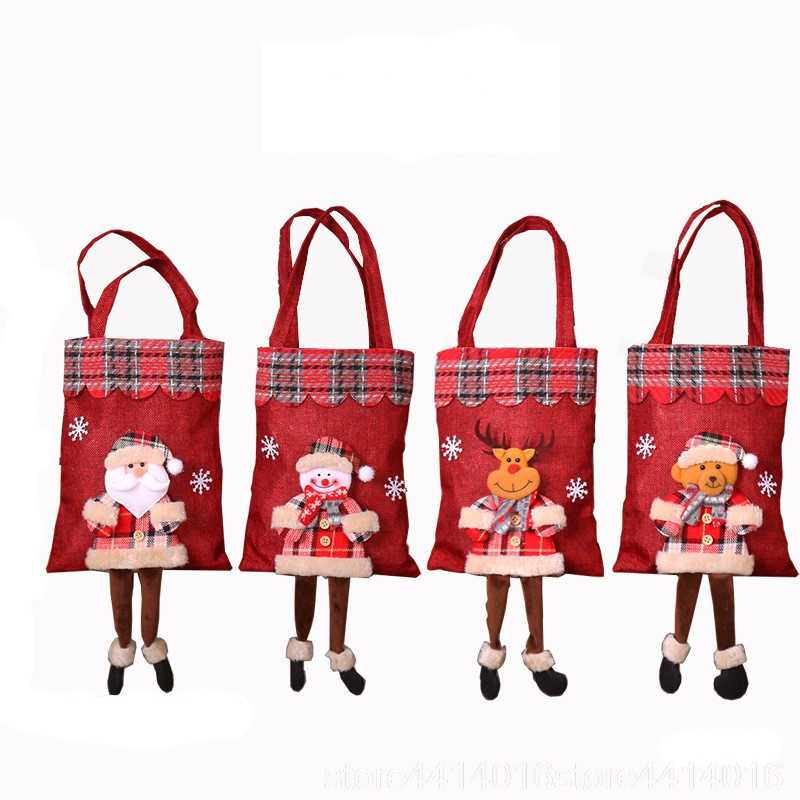 New 20x55cm Red Christmas Burlap Bag Santa Claus Plaid Tote Bag Christmas Decoration Christmas Gift Bag Candy Bags