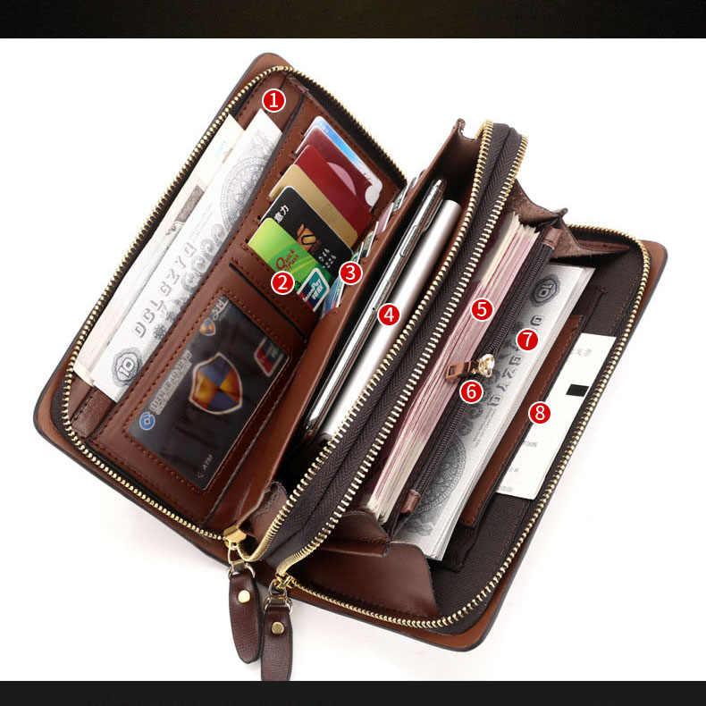 Dubbele rits mannen portemonnee Retro luxe clutch bag lederen portemonnee Organisator grote capaciteit paspoort cover mannelijke portefeuillesubsidies homme