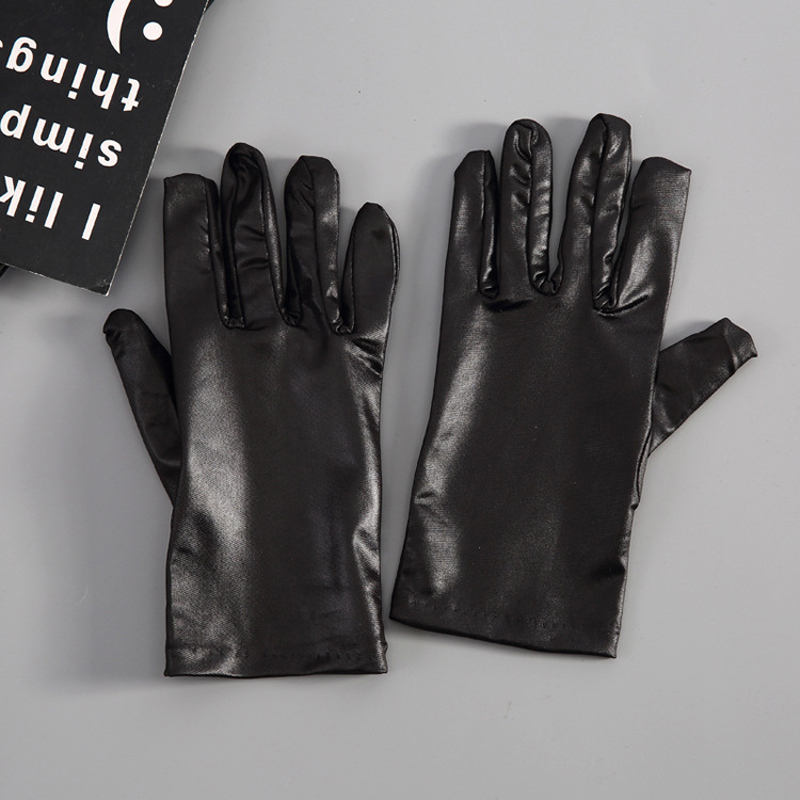 Mens Black Imitation Leather Gloves Thin Winter Warm Leather Waist Gloves Fashion Black PU Gloves Winter