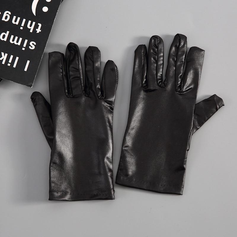 Mens Black Imitation Leather Gloves Thin Winter Warm Leather Waist Gloves Fashion Black PU Gloves Winter
