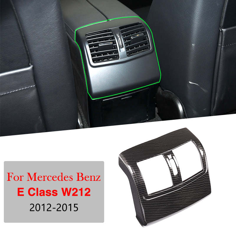 For <font><b>Mercedes</b></font> Benz E Class W212 2012-2015 ABS Carbon Fiber Car Rear Armrest Box Air Condition AC Vent Cover Trim Accessories image