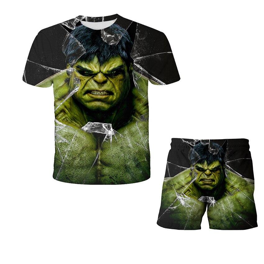 Baby boy sets 3D Hulk Tshirt Cartoon Teen Clothing Toddler Boys Sets Children Clothing SetsSummer Boys Oversized Tshirt 4-14Y