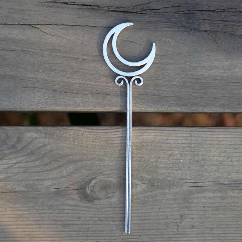 Silver Crescent Moon Hair Stick handmade hair stick sterling hair stick silver hair stick handmade crescent moon crescent moon jewelry