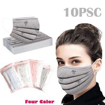 10pcs Bow Multicolor Print Disposable Face Mask Outdoor Industrial 3ply Ear Loop Facial Decoration Mascarillas De Proteccion