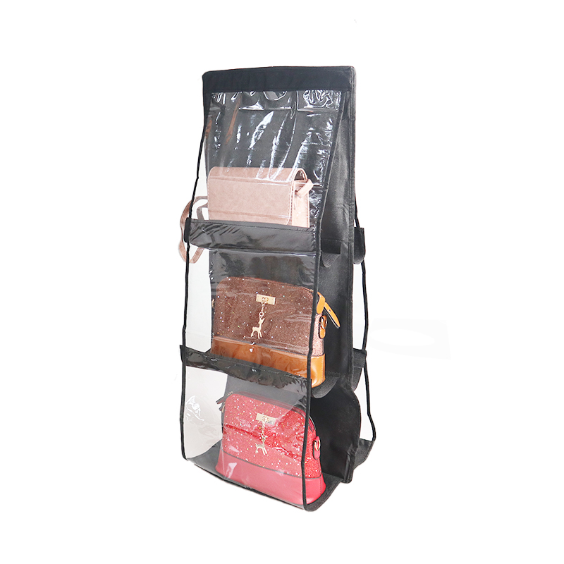 6 Pocket Hanging Handbag Organizer for Wardrobe Closet Transparent Storage Bag Door Wall Clear Sundry Shoe Bag with Hanger Pouch 6